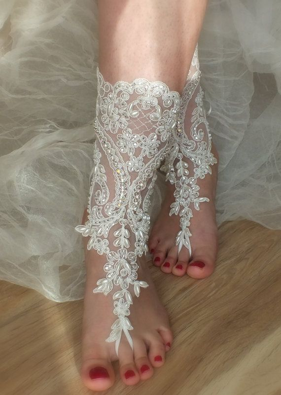 SANDALS \\ beach shoes, bridal sandals, lariat sandals, wedding bridal, bellydance, gothic, wedding shoes, handmade on Etsy, $49.00