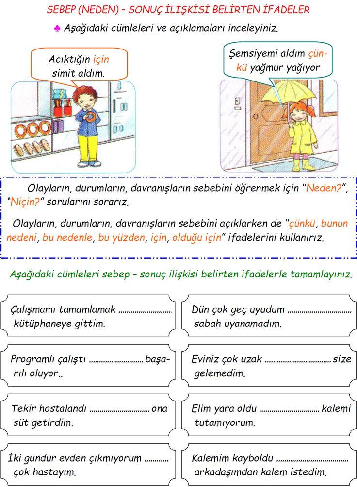 3. Sınıf Türkçe Sebep-Sonuç Belirten İfadeler Etkinliği | Eğitim Destek Sitesi