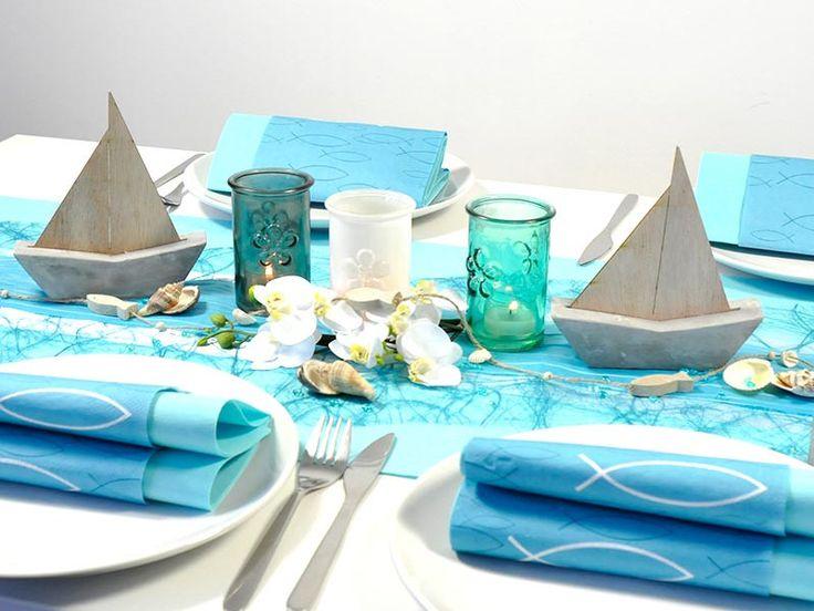 Schöne Tischdeko zur Kommunion oder Konfirmation zum Thema Fisch / Schiffe in Mintblue. Hier bequem online bestellen.