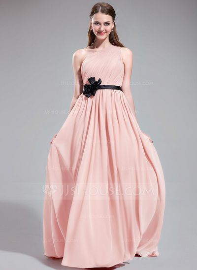 A-Line/Princess One-Shoulder Sweep Train Chiffon Charmeuse Bridesmaid Dress With Ruffle Sash Flower(s) (007025608)