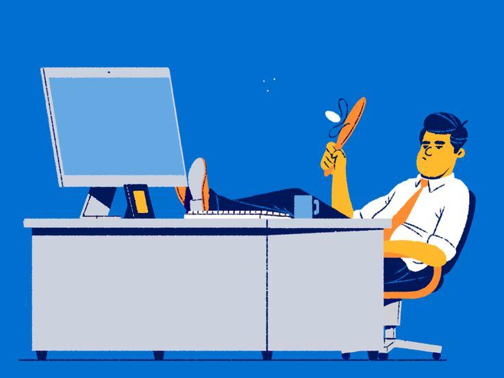 Paddle bat office computer desk job desk cel animation