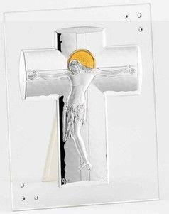 Srebrny obrazek Jezus Ukrzyżowany na szkle zdobiony cyrkoniami, stanowi doskonały prezent na wiele okazji. #jubileusz #chrzest #rocznica
