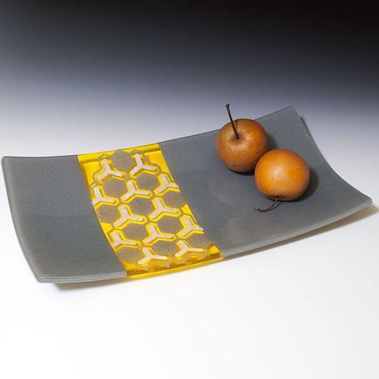 "Kiku Handmade 16"" Hex Platter  Glass"