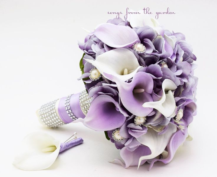 This real touch custom silk flower bridal bouquet of lavender silk hydrangea and white and lilac calla lilies sparkles with rhinestone and pearl accents. I can create it for you as shown or customize