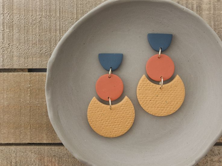 Geometric statement earrings – Navy, orange, and mustard colorblock earrings – Handmade polymer clay jewelry for women
