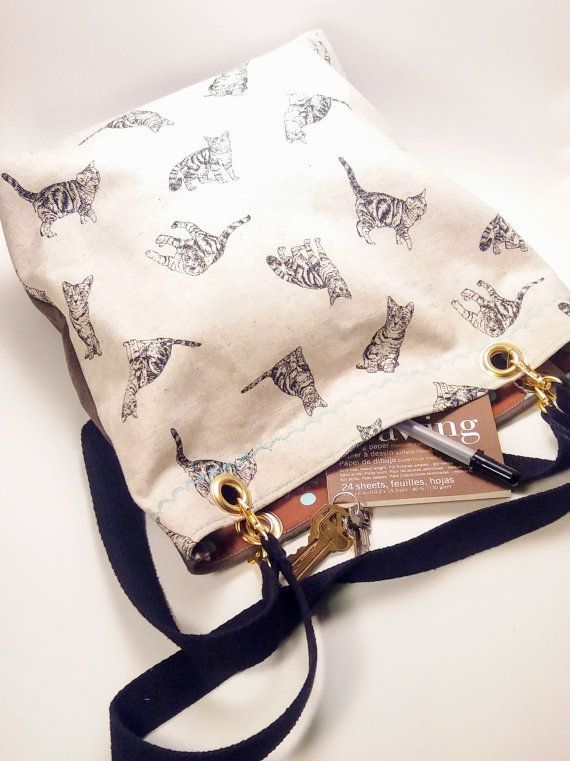 Great Everyday Bag! Big Bag - Black Tabby Cats and Kittens Print - Cotton and Linen Shoulder Tote