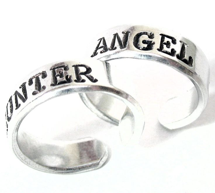 Angel / Hunter - Hand Stamped, Supernatural Inspired Aluminum Ring Pair