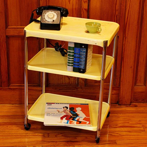 vintage metal cart serving cart kitchen cart by moxiethriftchairs
