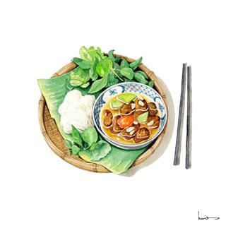 Bún Chả  Grilled pork with rice noodles is one of the oldest dishes in Hanoi city.  The pork is carefully marinated, grilled over charcoal and placed in a bow of dipping sauce which has thinly sliced pickled green papaya and carrot.  from Việt Nam Miền Ngon artbook. #illustration #art #artbook #artwork #instaart #watercolor #watercolour #vietnammienngon #vietnamdelicious #delicious #vietnam #vietnamesefood #vietnamesestreetfood #conceptart #foodillustration #vietnamtravel #recipe…