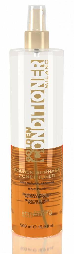 Imperity Milano Golden Bi-Phase Conditioner 150ml  Description: Imperity Milano Golden Argan Bi-Phase Conditioner Imperity Milano Golden Argan Bi-Phase Conditioner is een tweefase conditionerspray verrijkt met argan olie. Deze Bi-Phase conditioner maakt het uitkammen van het haar makkelijker en geeft het haar een heerlijke geur met een prachtige glans. Imperity Milano Golden Argan Bi-Phase Conditioner bevat een UV-filter dat beschadiging van zonlicht tegen gaat. Het haar krijgt een…