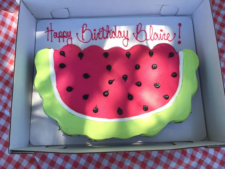 Picnic Birthday party watermelon pull apart cupcake cake