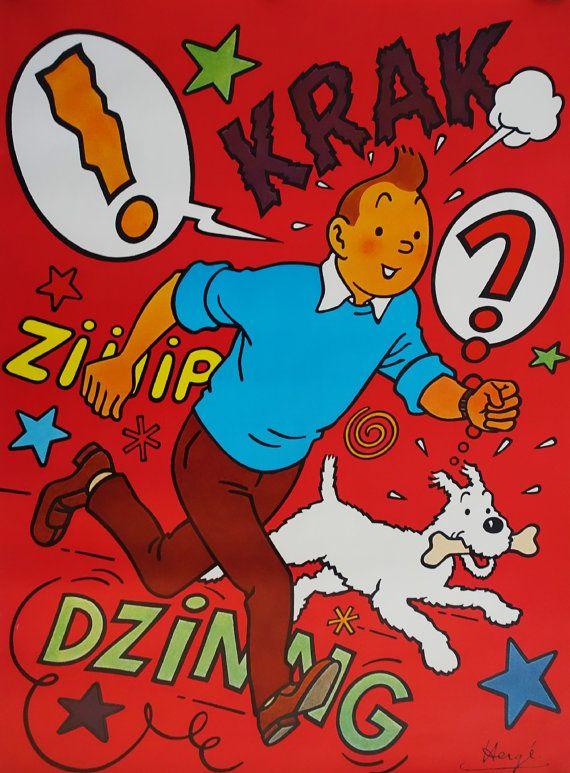 1970 Tintin Poster  Original Vintage Poster by OutofCopenhagen