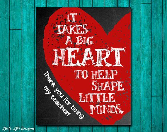 Gift for Teacher. Teacher Appreciation. It takes a big heart to help shape little minds. by LittleLifeDesigns