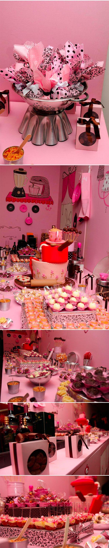 Chá de Cozinha | Tema Confeitaria | Vermelho e rosa | Decoração original