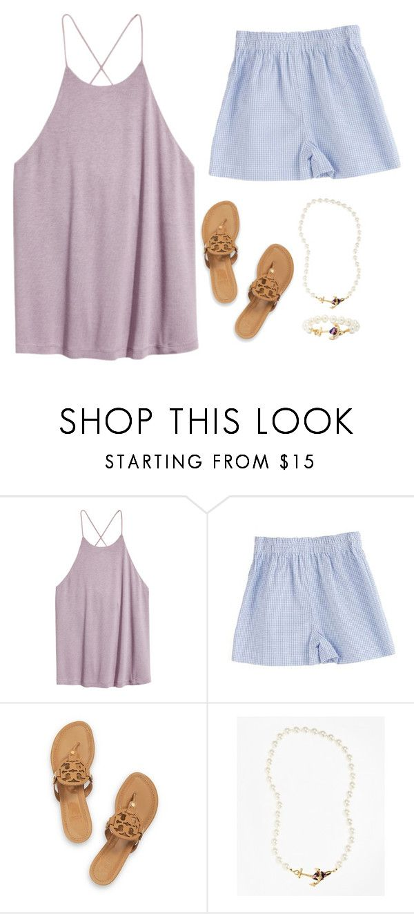 """""""Ootd// hanging out with my friends, church, country club"""" by elizabeth-preppy ❤ liked on Polyvore featuring H&M, Tory Burch, Brooks Brothers and country"""