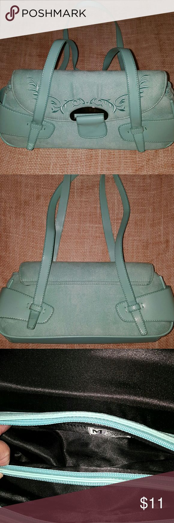 """Maggie Sweet Gigi Bag NWOT baguette style purse. 2 main inner zippered pockets with 1 small zipper inside pocket. Soft velvety touch. 14"""" length and 6 1/2"""" tall. 9 1/2"""" drop. Aqua color. maggie sweet  Bags Clutches & Wristlets"""