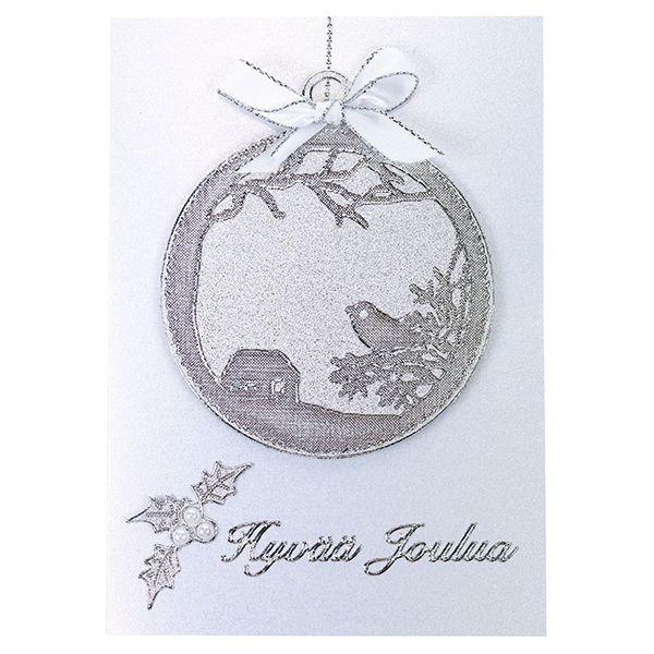 Upea joulupalloaiheinen kortti on toteutettu ääriviivatarrojen avulla.