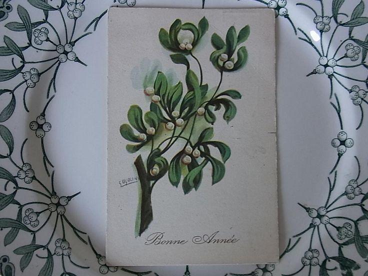 画像1: アンティークポストカード ヤドリギ-a