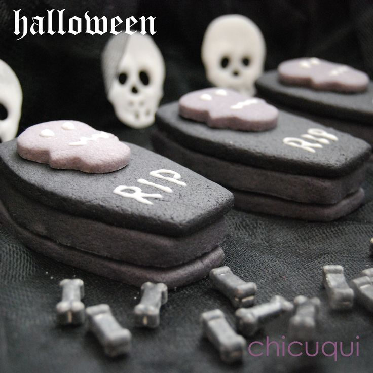 Halloween galletas decoradas ataúdes sorpresa. Tutorial en chicuqui.com