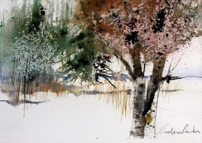 Les givres du petit lac - Painting ©2008 by Reine-Marie PiNCHON -                            Contemporary painting, givre arbres lac hiver rose