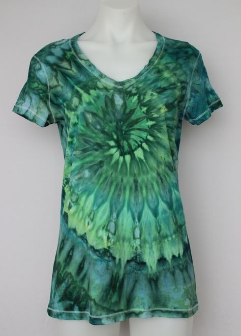 Tie Dye T-shirt, Ice Dyed, V neck tee shirt, size Large - Mermaid's Tale twist by ASPOONFULOFCOLORS on Etsy