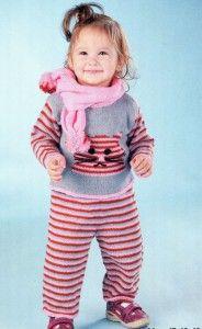 Вязаный комплект для ребёнка, вязаный спицами