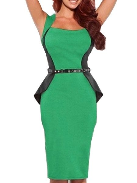 Fascinating Round Neck Blended  Bodycon-dress Bodycon Dress from fashionmia.com