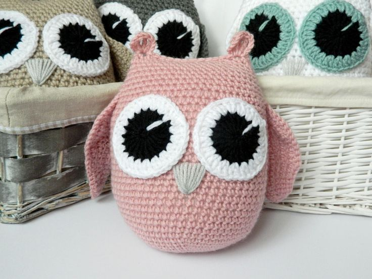 Crochet owl pillow Light pink owl Crochet owl toy Decorative pillow Nursery decor owl Decorative pillow for nursery Gift for girl by PatiikCrochet on Etsy