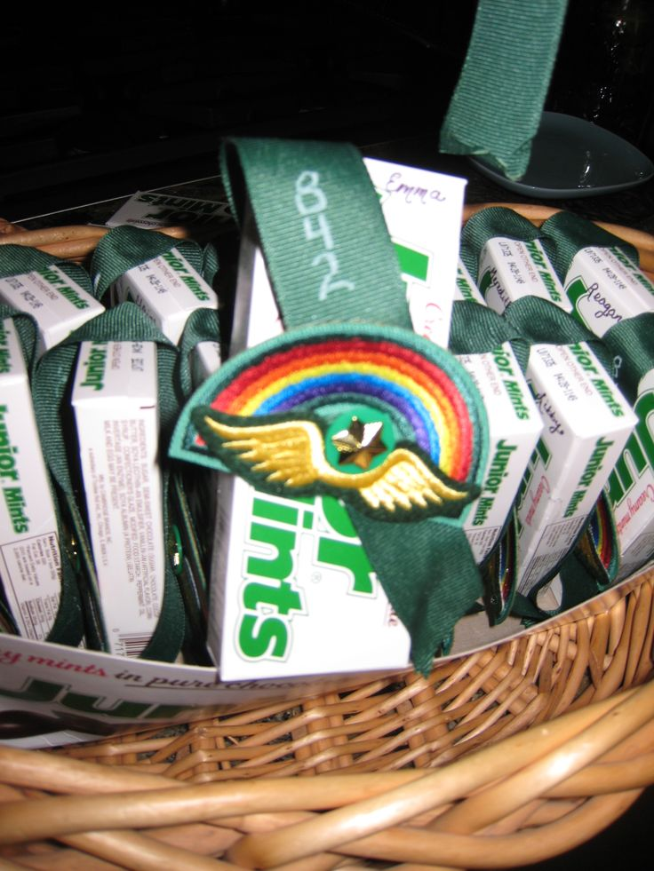 Bridging gift for our Brownies who bridged to Juniors---little sash made of grosgrain ribbon and bridging rainbow/wings and membership pin attached to...wait for it...a Junior Mints box!