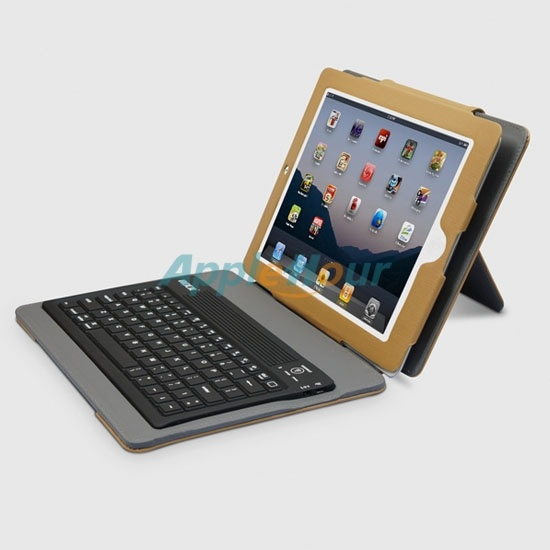 Rock Wireless Bluetooth Keyboard Leather Case with Intelligent Awaking Function for iPad 2 (IPAD2-2108)  $69.29