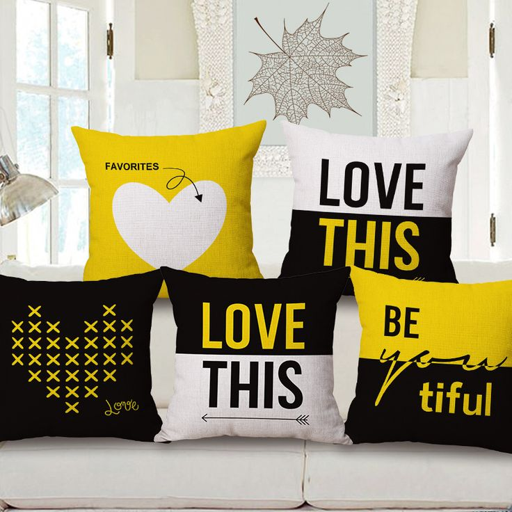 Decorative throw pillow case cover letter simple yellow geometric cotton linen cushion cover for sofa home decor capa almofadas-in Cushion Cover from Home & Garden on Aliexpress.com | Alibaba Group