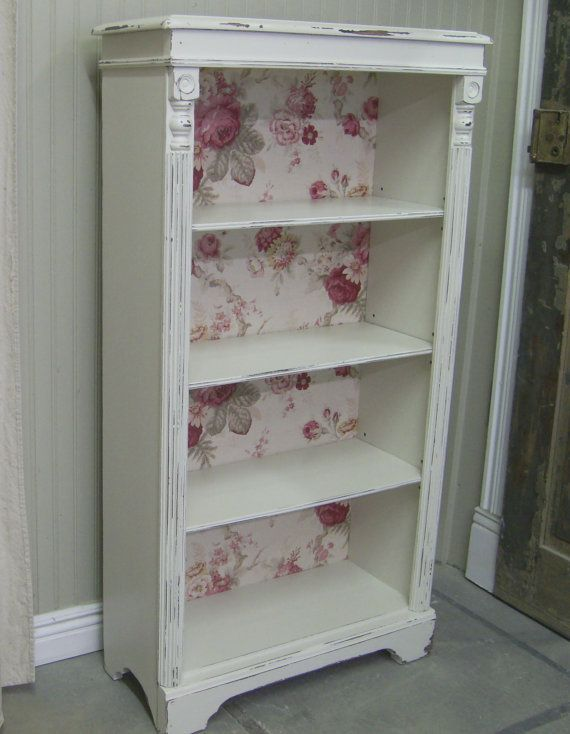 shabby a plain bookcase with wallpaper and details vintage bedroom decorbedroom - Shabby Chic Bedroom Decorating Ideas