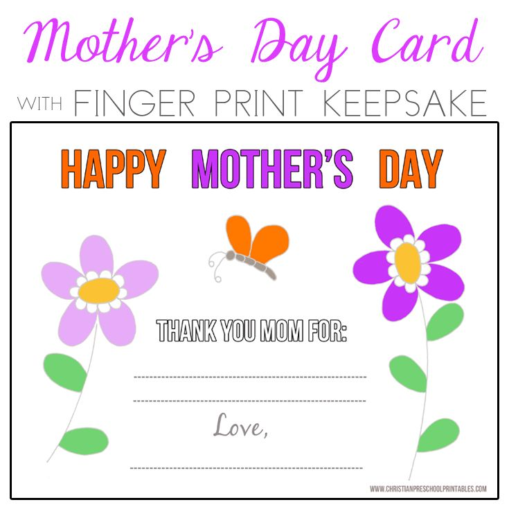 Preschool mother 39 s day fingerprint card flowers for Mothers day cards from preschoolers