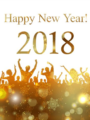 """Golden New Year Party Card 2018: Will you be attending a wild, fun-filled party to ring in the New Year? This Golden New Year Party card features a crowd of New Year's celebrators and a """"Happy New Year! 2018"""" message. The bottom of the card is dark gold with snowflakes, spots of light, and bright sparkles on a white background. Send this holiday card to the fun-loving, party-goers in your life!"""