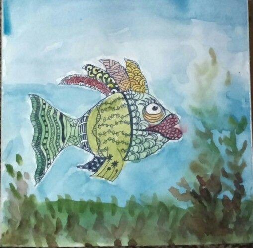 Mixed media #doodle #watercolour #fish