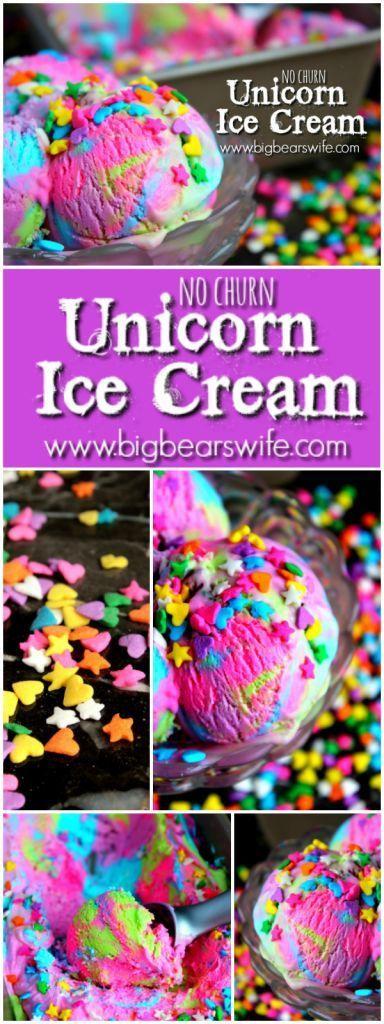 Unicorn Ice Cream - No Churn Ice Cream - Big Bear's Wife