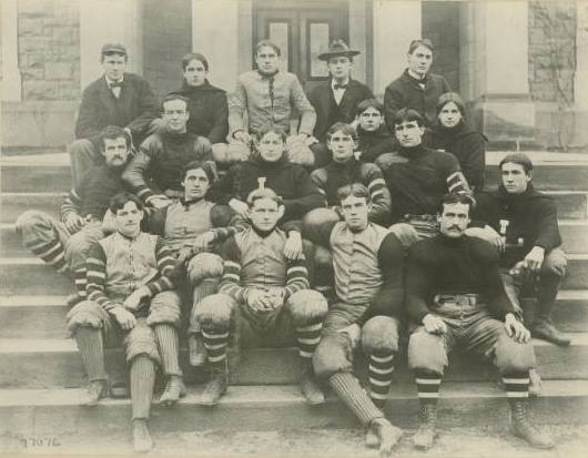 Coach Davis (top right) and his Lafayette football team of 1896. 37 years later, as the sport's pre-eminent historian, Davis would honor his team as co-national champions. Lafayette College, David Bishop Skillman Library, Department of Special Collections & College Archives