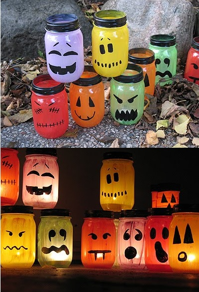 Mason Jar craft.  http://craftsbyamanda.com/2009/10/halloween-painted-jar-luminaries.html