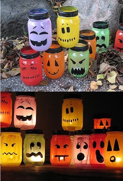 Mason Jar craft.  http://craftsbyamanda.com/2009/10/halloween-painted-jar-luminaries.html