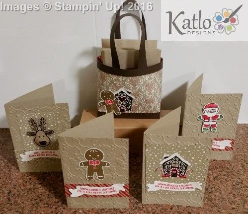 Stampin Up Candy Cane lane card set and bag