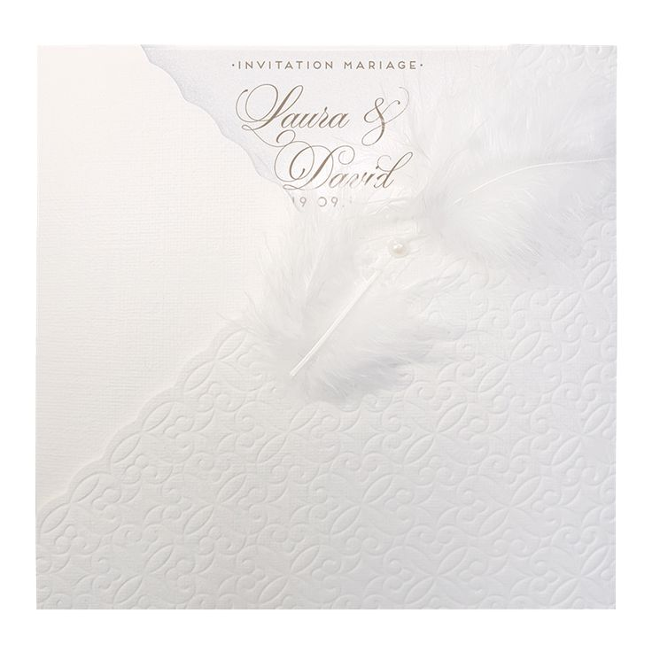 Faire part mariage plume  Pochette blanche avec relief mosaique