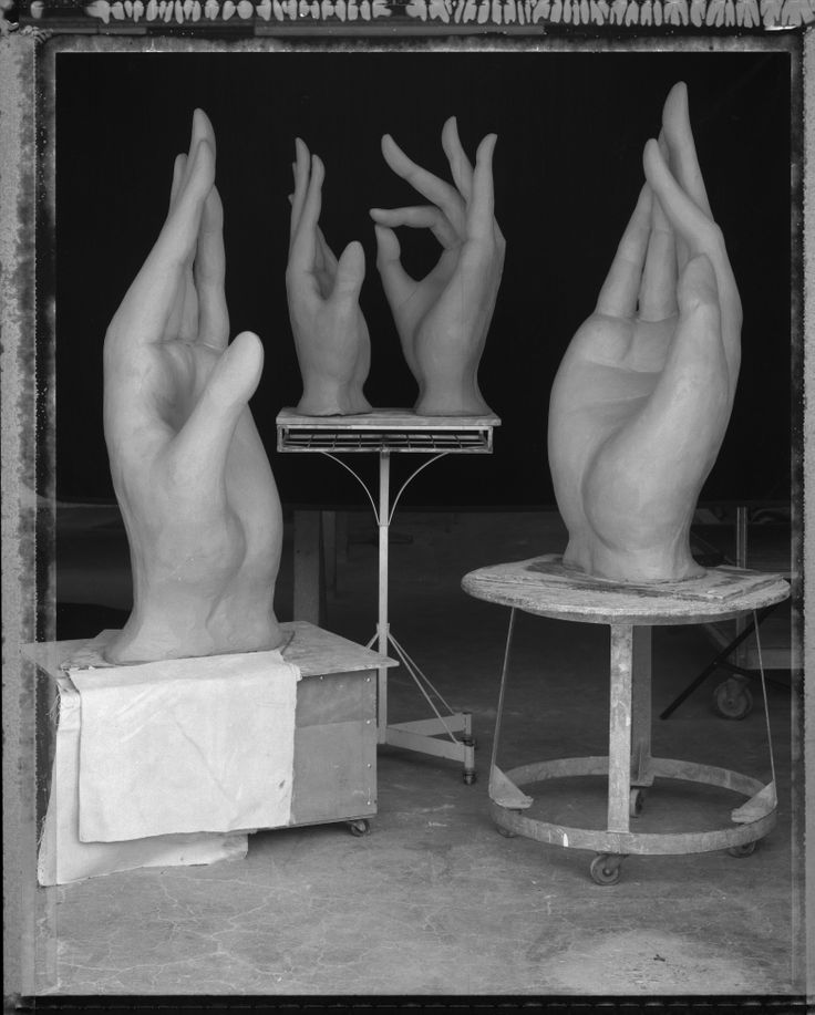 Michelle Gregor- studio view with hands in process