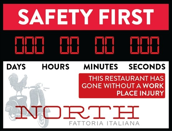 A New Safety Sign for North Fattoria Italiana Restaurant part of the Fox Restaurant Concepts Group in Phoenix Arizona