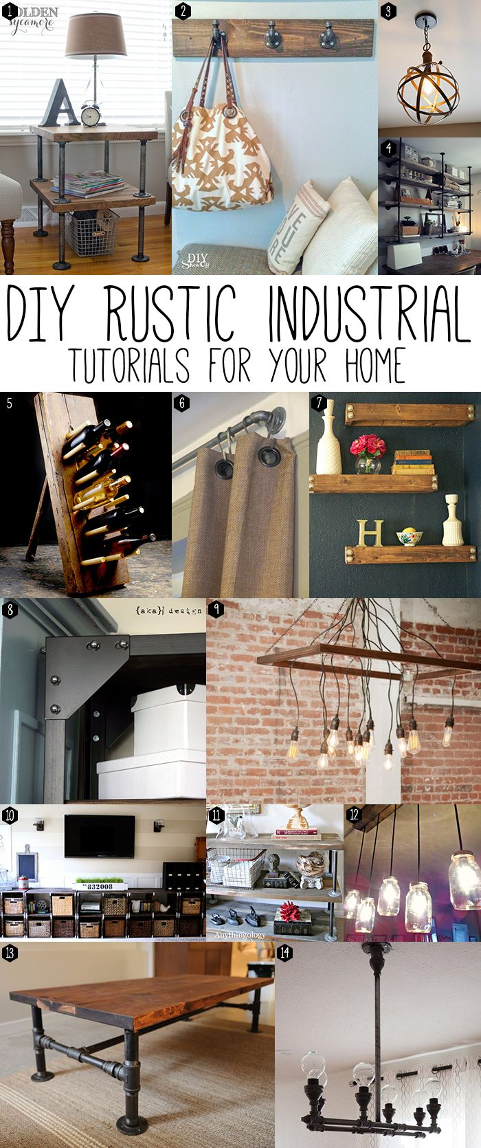 DIY: Rustic Industrial Projects - this post has some great tutorials for furnishings and home decor.