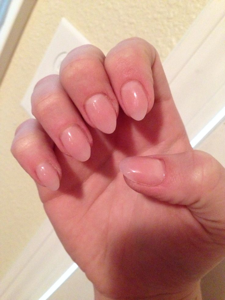 Natural round acrylic tips. Almond nails. Nude nails.