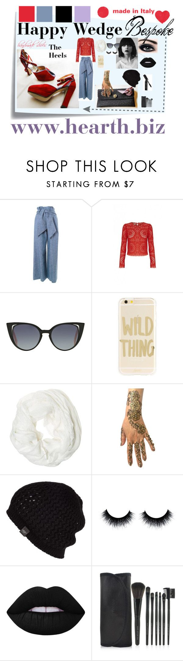 """The Happy Wedge"" by hearthfashion on Polyvore featuring moda, Post-It, MSGM, Temperley London, Fendi, Sonix, Betsey Johnson, UGG Australia, Lime Crime e Bobbi Brown Cosmetics"