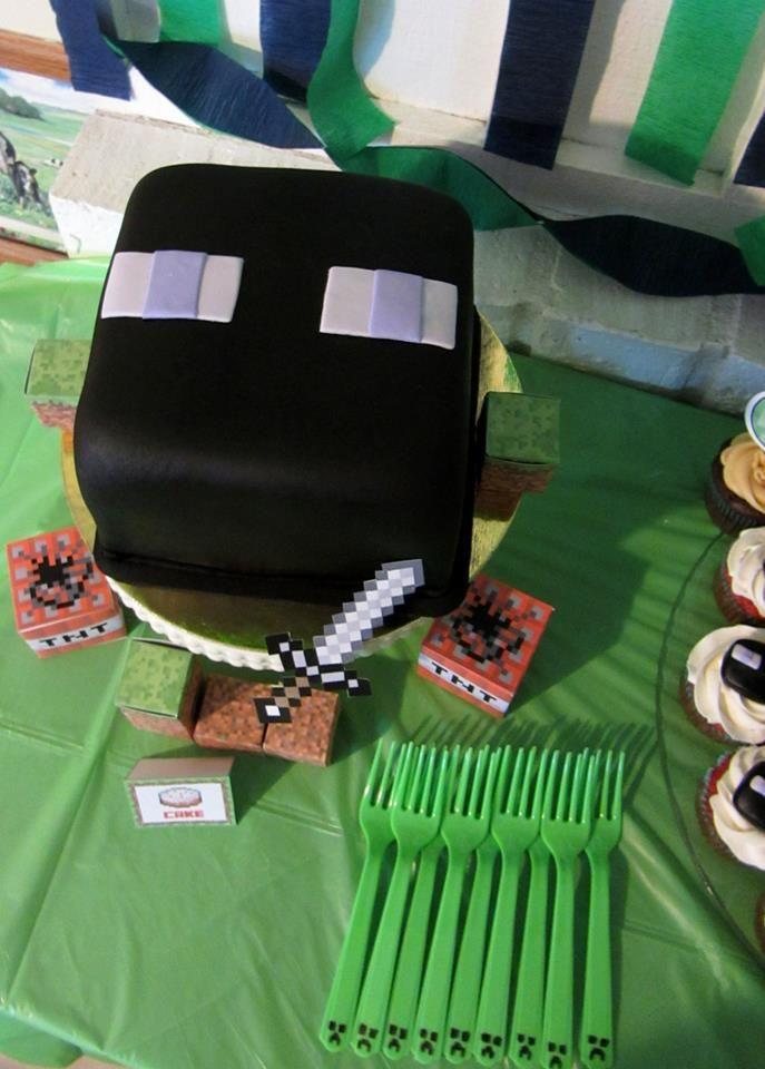Enderman Birthday Cake