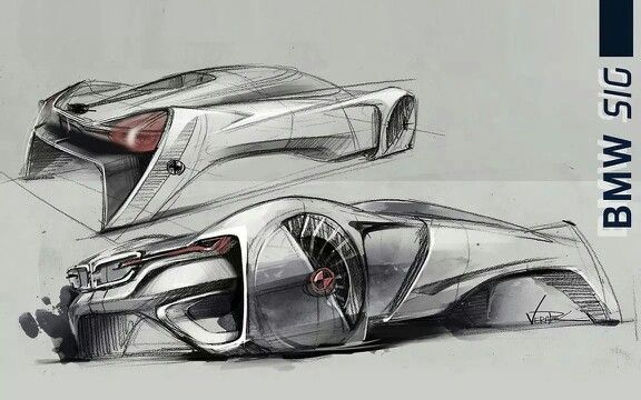 Futuristic BMW concept drawing.