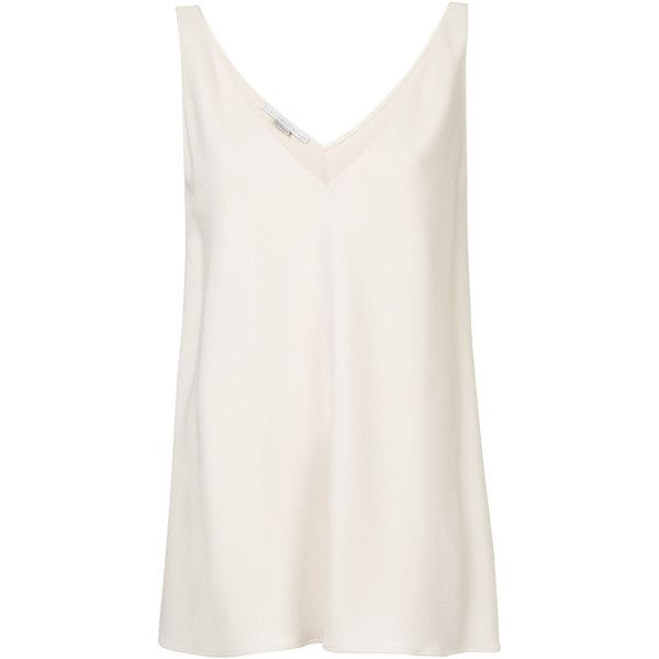 Stella McCartney Sutton tank top (14 455 UAH) ❤ liked on Polyvore featuring tops, white top, loose fitting tank tops, loose white tank top, loose tank top and v-neck tank