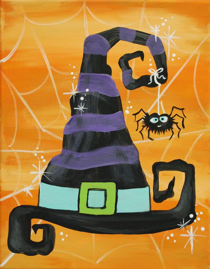 Witch Hat Hat Haunted Halloween Wall Art Printable Art Etsy In 2021 Halloween Art Projects Halloween Canvas Paintings Halloween Canvas